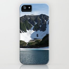 Stunning summer mountain landscape: Blue Lake, green forest on hillsides, blue sky on sunny day iPhone Case