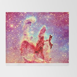 GALAXY : The Pillars of Creation Nebula Vibrant Warmth Throw Blanket