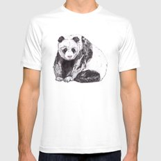 Panda Bear // Endangered Animals X-LARGE White Mens Fitted Tee