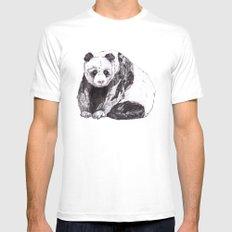 Panda Bear // Endangered Animals LARGE Mens Fitted Tee White