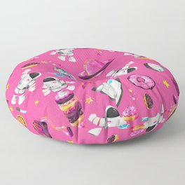 Planet Donuts Watercolor Astronaut Pattern Pink Floor Pillow