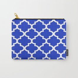 White Quatrefoil Pattern Outline With Royal Blue Background Carry-All Pouch