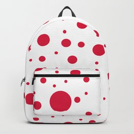 Mixed Polka Dots - Crimson Red on White Backpack