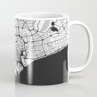 singapore Mugs featuring Singapore Map Gray by City Art Posters