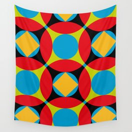 Very colorful circles, squares, intersections, geometrical fantasy. Wall Tapestry