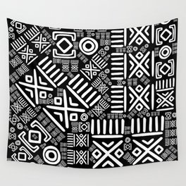 Ethnic African Pattern- Black and White #6 Wall Tapestry