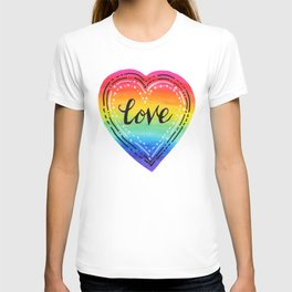 Rainbow Heart Love T-shirt