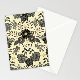 Gray, Black, Cream, Yellow & Red Sophisticated Floral Pattern Stationery Cards