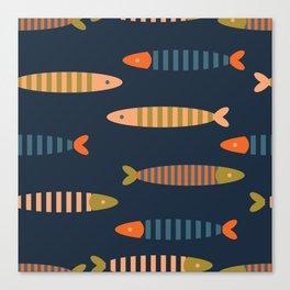 Striped fish - dark blue Canvas Print