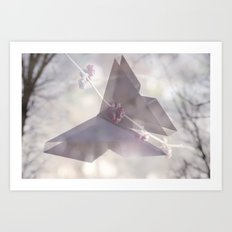Double Exposure Butterfly Origami Art Print