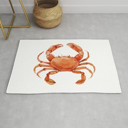 Watercolor Red Crab on White Minimalist Coastal Art - Treasures of the Sea Collection Rug