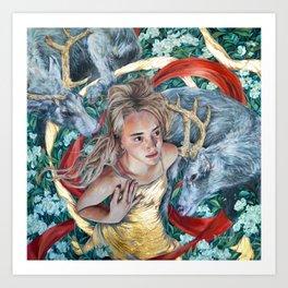The Awakening, Goddess Artemis with Deer Art Print