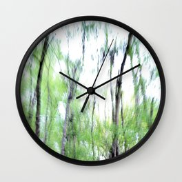 Abstract forest; intentionally blurred by camera shake Wall Clock
