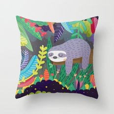 Sloth in nature Throw Pillow