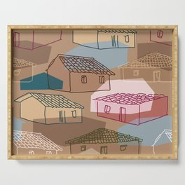 Rustic Rural Village Pattern Serving Tray