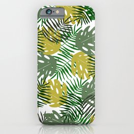 Tropical Monstera Leaf and Palm Branches iPhone Case