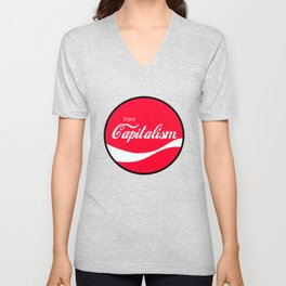 Enjoy Capitalism - Funny Political Classic Cola Parody Spoof - Red Round Retro Money Loving Logo Unisex V-Neck