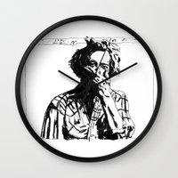 bon iver Wall Clocks featuring Bon Iver by Sara Pålsson