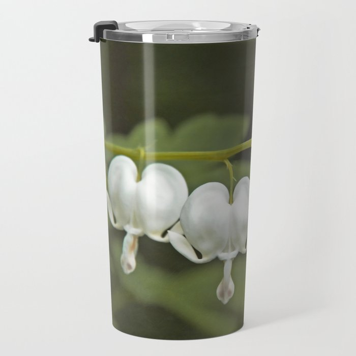 White Bleeding Hearts with Green Travel Mug