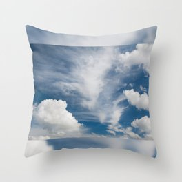 White various clouds formation Throw Pillow
