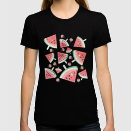 Watermelon popsicles, strawberries and chocolate T-shirt