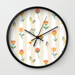 Paper Cut Flowers Wall Clock