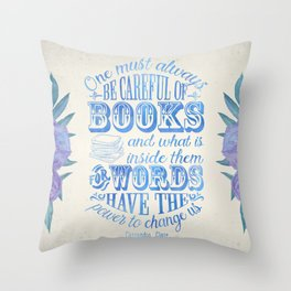 Be Careful Of Books - White and Blue Throw Pillow