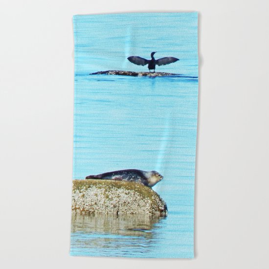 Seal pup and Cormorant getting some Sun  Beach Towel