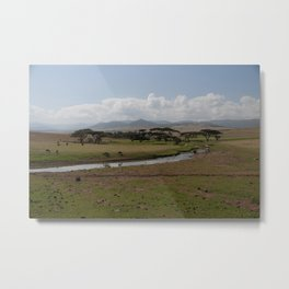 Omo Valley Creek Horses Mountains Landscape Ethiopia Africa Metal Print
