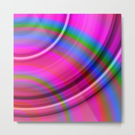 Fluttering curved semicircles with a crisp dawn accent and all the colors of the rainbow. Metal Print