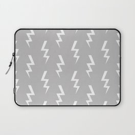 Bolts lightening bolt pattern grey and white minimal cute patterned gifts Laptop Sleeve