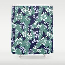 Abstract Inky Sunflowers Shower Curtain