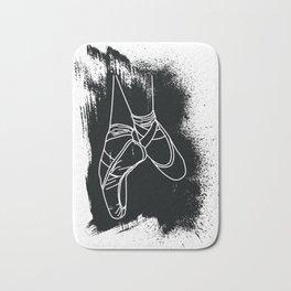 Outline of Ballet Pointe Shoes on Black Background Bath Mat