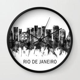 Rio de Janeiro Brazil Skyline BW Wall Clock