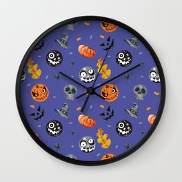 Funny Blue Halloween Pattern Wall Clock