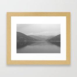 Rocky Mountain Lake in Black & White - M Framed Art Print