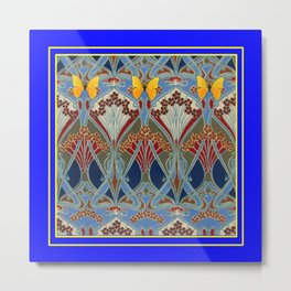 Ornate blue & Yellow Art Nouveau Butterfly Red Designs Metal Print