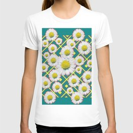 Teal Color Shasta Daisies Lime Pattern Art Abstract T-shirt