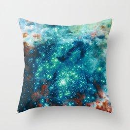 Teal Brown Glitter Sparkle Stars Throw Pillow