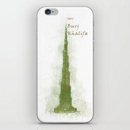 Burj Khalifa, Dubai, Emirates in WaterColor Green iPhone Skin