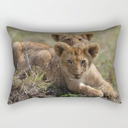 Two lion Clubs At Play Rectangular Pillow