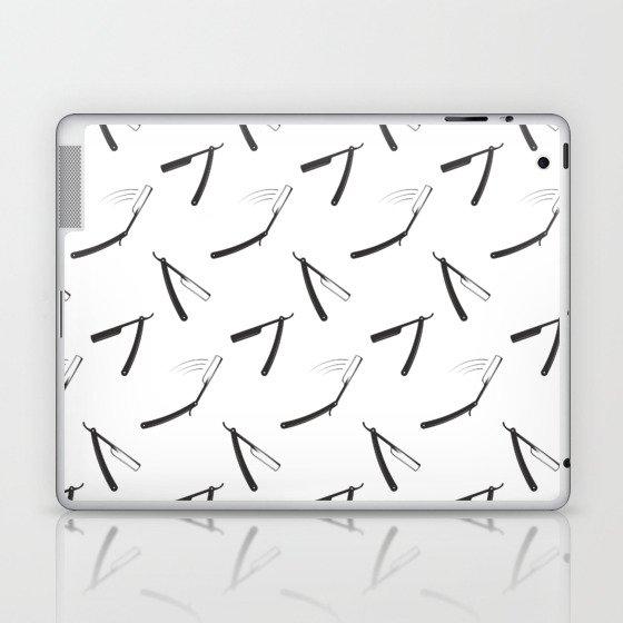 Barbershop pattern with shaving razor Laptop & iPad Skin
