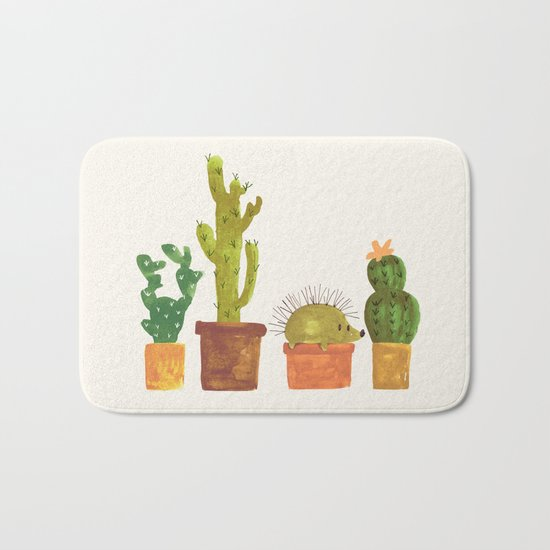 Hedgehog and Cactus (incognito) Bath Mat
