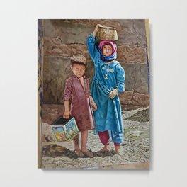 Oil painting 2 kids Childhood is miserable but responsible and stubbornly resisting despair Metal Print