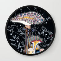 mushrooms Wall Clocks featuring Mushrooms by Asja Boros