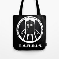 agents of shield Tote Bags featuring Agents of TARDIS black and white Agents of Shield, Doctor Who mash up by Whimsy and Nonsense