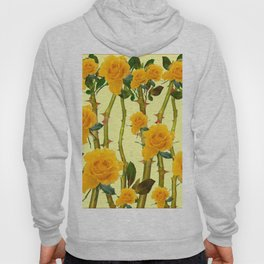 GOLDEN ROSES & THORNY CANES ON  YELLOW Hoody