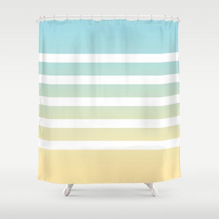 Aqua Yellow White Lines Shower Curtain