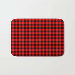 Mini Red and Black Coutry Buffalo Plaid Check Bath Mat