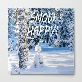 Winter Snow Happy Smile Metal Print